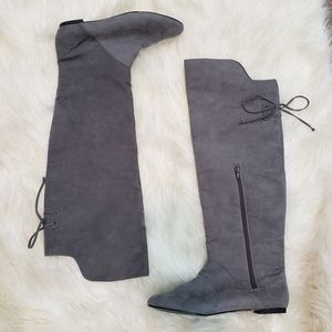 Zara Gray Suede Knee High Boots Size 9.5